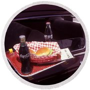 Drive-in Coke And Burgers Round Beach Towel