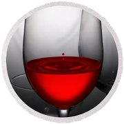 Drops Of Wine In Wine Glasses Round Beach Towel by Setsiri Silapasuwanchai