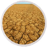 Dry Cracked Earth Round Beach Towel