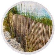 Dune Fence On Beach  Round Beach Towel