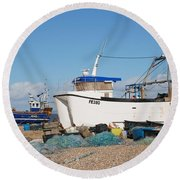 Dungeness Fishing Boats Round Beach Towel