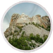 Dusk At Mount Rushmore Round Beach Towel