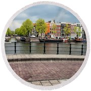 Dutch Houses By The Amstel River In Amsterdam Round Beach Towel