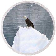 Eagle On Ice Round Beach Towel