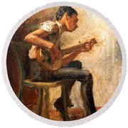 Eakins' Study For Negro Boy Dancing -- The Banjo Player Round Beach Towel