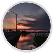 Early Morning View Round Beach Towel