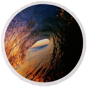 Early Morning Wave Breaking Round Beach Towel