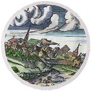 Earthquake, 1550 Round Beach Towel