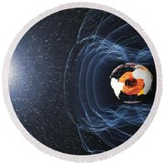 Earths Magnetic Field Round Beach Towel
