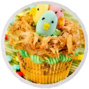 Easter Cupcakes  Round Beach Towel