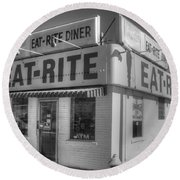 Eat Rite Diner Route 66 Round Beach Towel