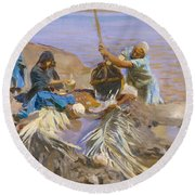 Egyptians Raising Water From The Nile Round Beach Towel