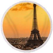 Eiffel Tower At Sunrise - Paris Round Beach Towel