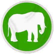 Elephant In Green And White Round Beach Towel