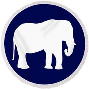 Elephant In Navy And White Round Beach Towel