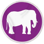 Elephant In Purple And White Round Beach Towel