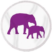 Elephants In Purple And White Round Beach Towel