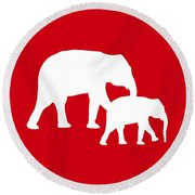 Elephants In Red And White Round Beach Towel