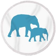 Elephants In White And Turquoise Round Beach Towel