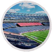 Elevated View Of Gillette Stadium, Home Round Beach Towel