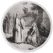 Eliezer And Rebekah Round Beach Towel by Gustave Dore