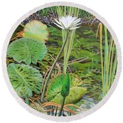 Emerald Lily Pond Round Beach Towel