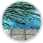 Empty Pier And River Water Round Beach Towel