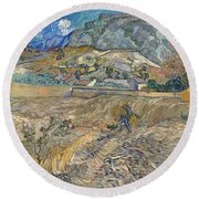 Enclosed Wheat Field With Peasant  Round Beach Towel