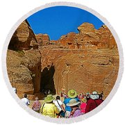 Entering Mile-long And 600 Foot High Gorge Leading To Treasury In Petra-jordan  Round Beach Towel