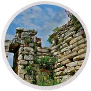 Entry To Saint John's Basilica Grounds In Selcuk-turkey Round Beach Towel