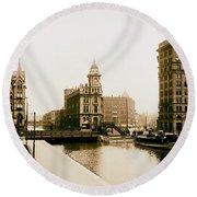 Erie Canal On Salina Street In Syracuse New York - Circa 1904 Round Beach Towel