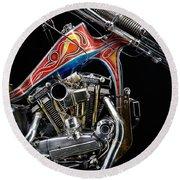 Evel Knievel Harley-davidson Chopper Round Beach Towel