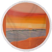 Evening At Mission Beach Round Beach Towel
