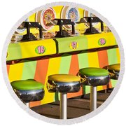 Evergreen State Fair Midway Game With Coloful Stools And Squirt  Round Beach Towel