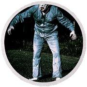 Evil Dead Horror Zombie Walking Undead In Cemetery Round Beach Towel