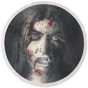 Evil Dead Vampire Woman Looking In Bloody Window Round Beach Towel