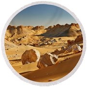Expressive Landscape With Mountains In Egyptian Desert  Round Beach Towel