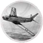 F-86 Sabre, First Swept-wing Fighter Round Beach Towel