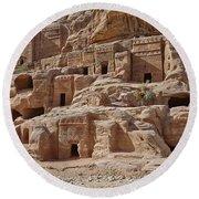 facade street in Nabataean ancient town Petra Round Beach Towel by Juergen Ritterbach