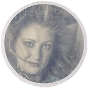 Face Of Beautiful Woman In Makeup Close-up Round Beach Towel