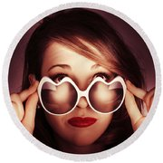 Face Of Cool Fashion Woman In Retro Summer Love Round Beach Towel