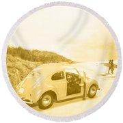 Faded Film Surfing Memories Round Beach Towel