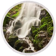 Fairy Falls In The Columbia River Gorge Area Of Oregon Round Beach Towel