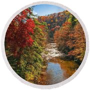 Fall Along The Linville River Round Beach Towel
