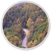 Fall Drive In The Smokies Round Beach Towel
