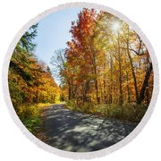 Fall Forest Road Round Beach Towel