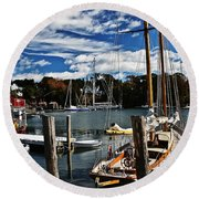 Fall In The Harbor Round Beach Towel
