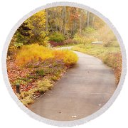 Fall In The Park Round Beach Towel