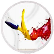 Falling Glasses Of Paint Round Beach Towel