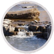 Falls Park Waterfall Round Beach Towel